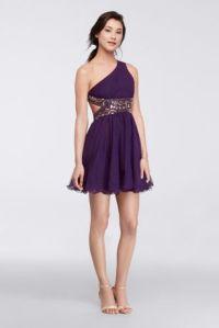 One-Shoulder Short Dress with Metallic Bodice   David's Bridal