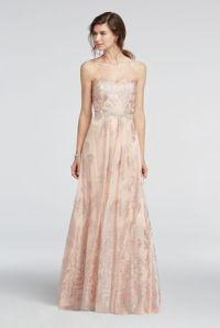 Strapless Glitter Tulle Beaded Waist Prom Dress   David's ...