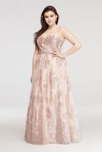 Glitter Tulle Prom Dress with Beaded Waist   David's Bridal
