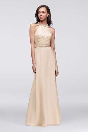 Lace And Chiffon Gown With Beaded High Neck Bodice David
