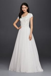 Modest Short Sleeve Petite A-Line Wedding Dress | David's ...