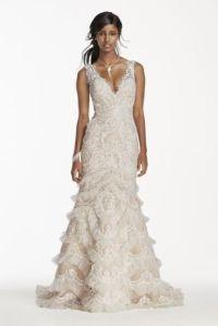 Petite Lace Wedding Dress with Plunging Neck - Davids Bridal