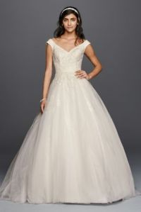 Petite Tank Tulle Wedding Dress with Lace Applique | David ...