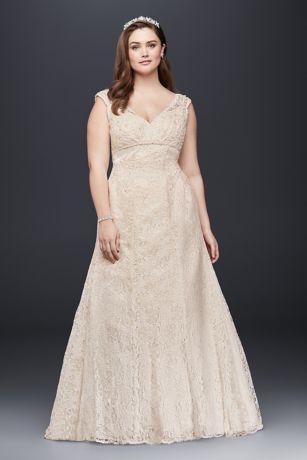 Long mermaid trumpet formal wedding dress david   bridal collection also beaded cap sleeve lace plus size rh davidsbridal