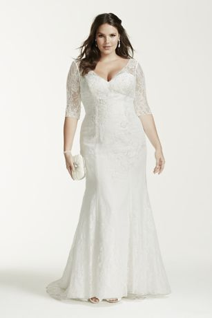 34 Sleeve Lace Trumpet Plus Size Wedding Dress  Davids