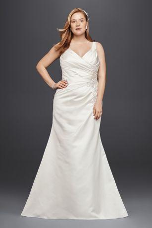 Satin and Lace Plus Size Mermaid Wedding Dress  Davids