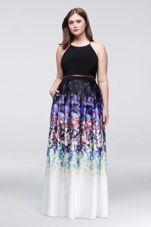 Faux TwoPiece Plus Size Dress with Floral Skirt  Davids Bridal