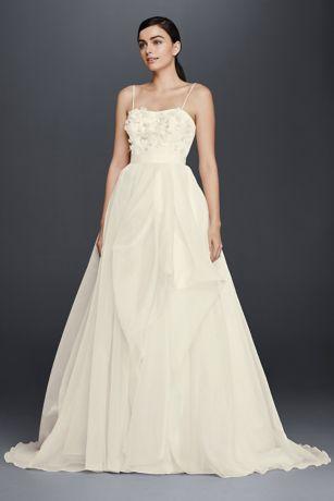 Sheer Beaded Bodice ALine Organza Wedding Dress  Davids Bridal