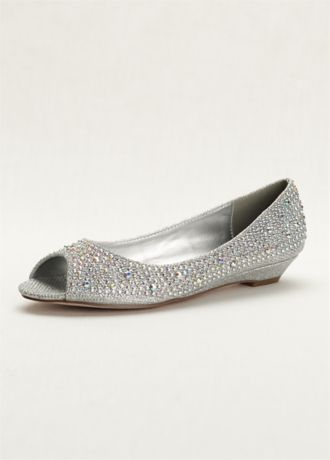 Low Wedge Peep Toe With AB Crystals Davids Bridal