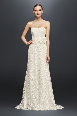 Embroidered Lace Wedding Dress With Floral Sash Davids
