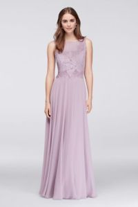 Illusion Lace and Chiffon Long Bridesmaid Dress | David's ...