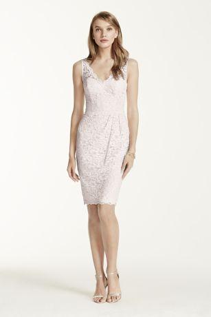 Short Tank Lace Dress with V Neckline  Davids Bridal
