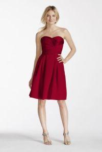 Short Strapless Satin Dress with Pockets - Davids Bridal
