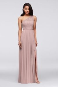Long One Shoulder Lace Bridesmaid Dress Style F17063 | eBay