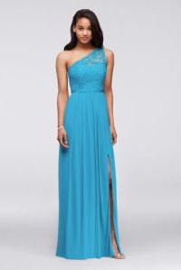 Long One-Shoulder Bridesmaid Dress with Ruffles | David's ...