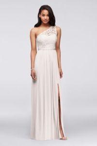 One Shoulder Long Lace Bridesmaid Dress - Davids Bridal