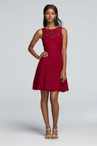 Short Sleeveless All Over Lace Bridesmaid Dress | David's ...