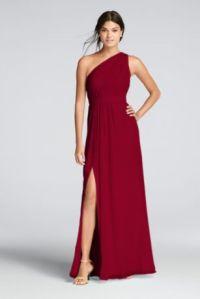 Long One-Shoulder Crinkle Chiffon Dress | David's Bridal