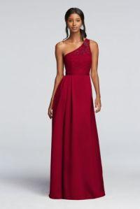 Long Illusion Lace and Satin Dress   David's Bridal