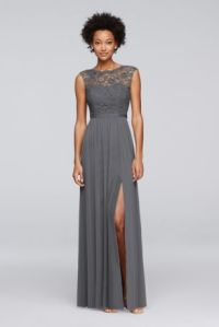David's Bridal Long Bridesmaid Dress with Lace Bodice ...