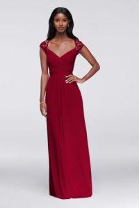 Long Mesh Dress with Lace Cap Sleeves | David's Bridal