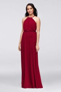 Soft Mesh Halter Bridesmaid Dress with Slim Sash | David's ...