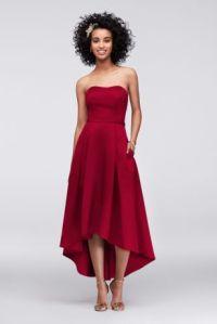 High-Low Satin Bridesmaid Dress with Pockets | David's Bridal