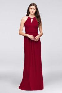 Crepe Halter Bridesmaid Dress with Beaded Neckline | David ...