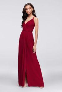 Double-Strap Long Georgette Bridesmaid Wrap Dress   David ...