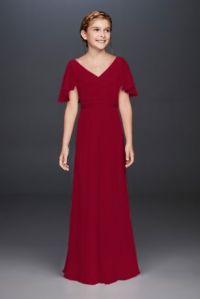 Flutter Crinkle Chiffon Junior Bridesmaid Dress | David's ...