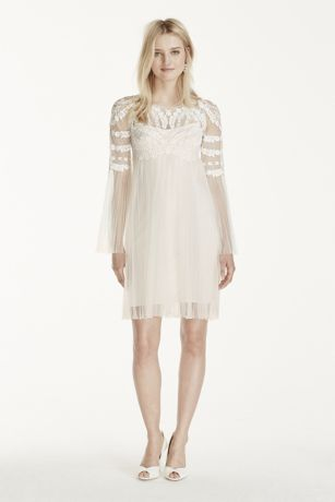 Short Tulle Skirt with Long Sleeves Dress  Davids Bridal