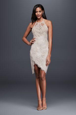 Lace Halter Mini Dress With Asymmetric Hem Davids Bridal