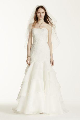 Oleg Cassini Satin Lace Strapless Wedding Dress  Davids Bridal