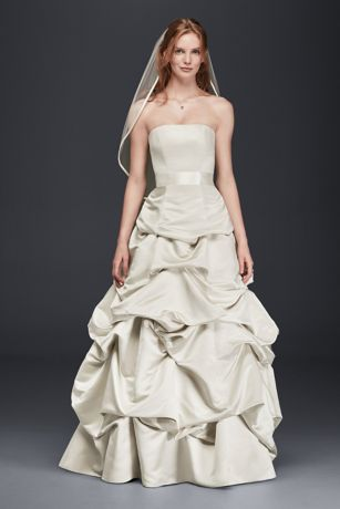 Strapless ALine Satin Gown with Dropped Waist  Davids Bridal