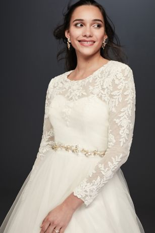 Beaded Chiffon Topper with Swag Sleeves  Davids Bridal