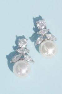 Cubic Zirconia and Pearl Drop Earrings | David's Bridal