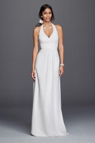 Chiffon Sheath Halter Wedding Dress  David's Bridal