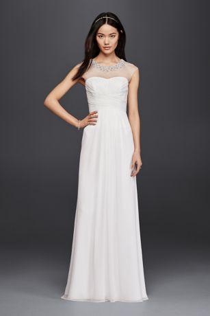 Sheath Wedding Dress With Beaded Illusion Neckline