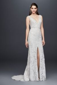 Plunging V-Neck Beaded Illusion Wedding Dress | David's Bridal