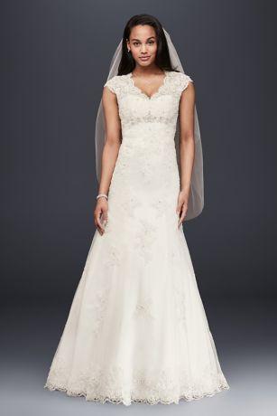 Cap Sleeve Lace Over Satin Wedding Dress  Davids Bridal