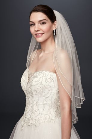 Two Tier Sparkling Rhinestone Edged Mid Veil Davids Bridal