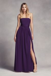 Long Strapless Bridesmaid Dress with Belt - Davids Bridal