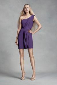 Short One-Shoulder Bridesmaid Dress with Ruffles | David's ...
