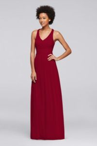 Mesh Long Bridesmaid Dress with Crisscross Back | David's ...
