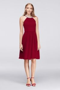 Short Chiffon Dress with Beaded Illusion Neckline | David ...