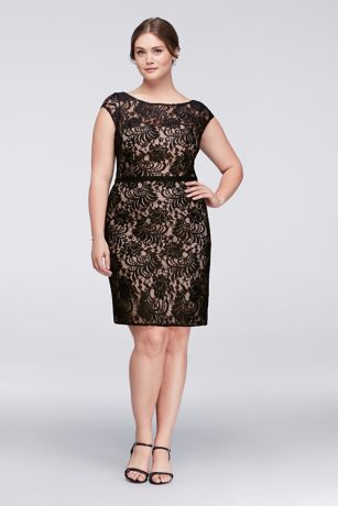 Illusion Lace Plus Size Cocktail Dress with Ribbon  David