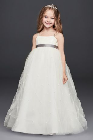 Tulle Flower Girl Dress with Pearl PickUps  Davids Bridal