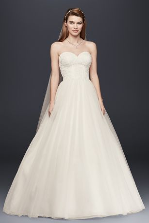 Davids Bridal Strapless Ball Gown Wedding Dress with Lace Corset Bodice