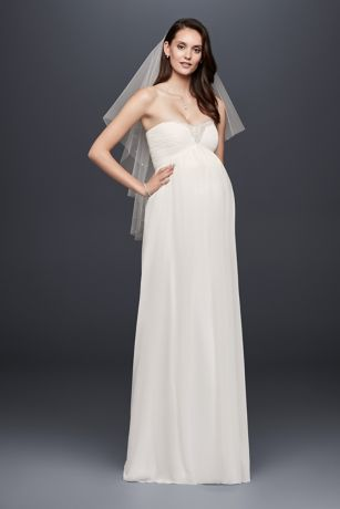 Beaded Chiffon Maternity Wedding Dress  Davids Bridal