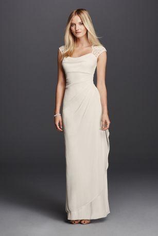Lace Cap Sleeve Long Matte Mesh Dress  Davids Bridal